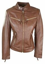 100% Ladies Real Leather Jacket Fitted Bikers Style Vintage Timber Rock