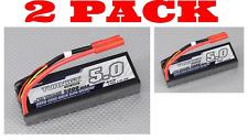 2 PACK - Turnigy 5000mAh 2S2P 40C Hardcase Lipo Pack Battery JST HX plug RC Car