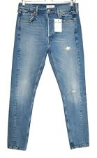Womens Levis 501 SKINNY Altered High Rise Blue Ripped Jeans Size 12 W29 L30