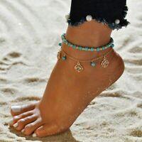 Coque turquoise perles Bracelet Bracelet Charme Tassel Surfeur Plage pied cheville cadeau