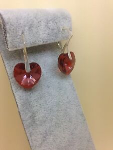 Sterling Silver & Deep Red Swarovski Crystal Heart Drop Dangle Earrings 925
