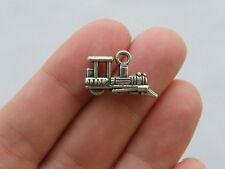 BULK 50 Train charms tibetan silver TT8