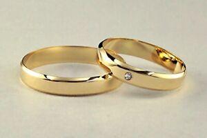 1 Paar Eheringe Trauringe 100% Diamant ! Massives Gelbgold 333 4 mm KANTEN 5g