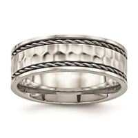 Chisel Stainless Steel Polished Hammered Comfort Back Wedding Band