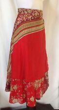 Red Silk Blend Boho Wrap Skirt Size M/12 NEW