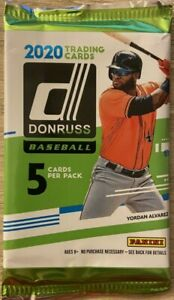 2020 Donruss Baseball Pack (1) Factory Sealed - W/ Yellow Exclusive