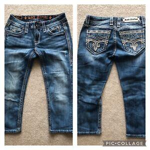ROCK REVIVAL Pilkin Distressed sequin rhinestones denim jeans capris 27
