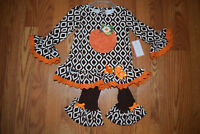 NWT Girls EMILY ROSE White Brown Thanksgiving Pumpkin Dress Shirt Set Size 4