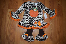 NWT Girls EMILY ROSE White Brown Thanksgiving Pumpkin Dress Shirt Set Size 8