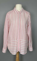 Per Una Uk16 Linen Blouse Pink White Stripe Button Down Smart Casual Career