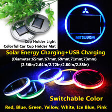 1pcs Solar Energy Cup Holder LED Car Light Lamp Parts For Mitsubishi Accessories