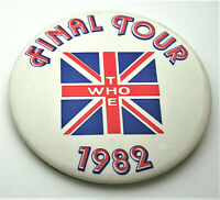 The Who 1982 Final Tour Concert Promo Music Group Band Large Pin Button NOS