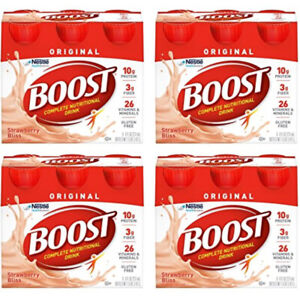 BOOST Complete Nutritional Drink Creamy Strawberry Energy 24 Pack Lot 8 oz Each
