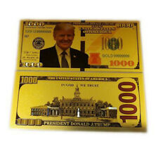 2 President Donald Trump Gold Plated Bookmark Novelty Dollars Bill Banknote