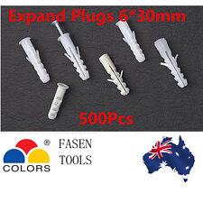 500Pcs 8*40mm Plastic Anti-rotation Wall Plug anchor fixing Expansion masonry