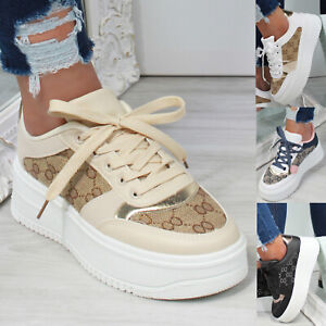 New Womens Embroidered Platform Sneaker Trainers Ladies Shoes Sizes 3-8