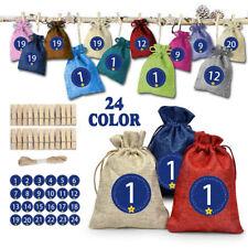 Linen Countdown Calendar Christmas 1-24 Days Gift Bag Pocket Advent Decor Party