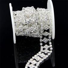 1Yd Clear Crystal Rhinestone Silver Diamante Chain Bridal Costume Applique Trim