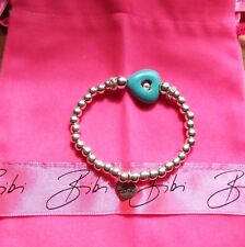 Bibi Bijoux Turquoise Heart & Ball Bead Crystal Stretch Bracelet new & pouch