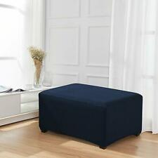 Enova Home Dark Blue Jacquard Polyester Stretch Fabric Ottoman Slipcover