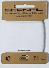 SCANFIL WHITE 100% COTTON Thread for Hand Sewing Darning & Mending - 15 Metres