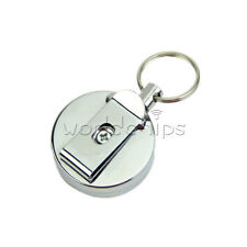 Retractable Metal Key Chain Steel Wire Pull Chain Reel Recoil Belt Ring Clip