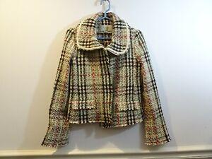 BURBERRY Plaid Wool Cashmere Blend Zip Jacket Blazer Size 6 Wide Collar Chunky