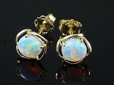 333 Gold Ohrstecker 7,3 mm Größe mit Opalen in Grösse 5 mm 1 Paar