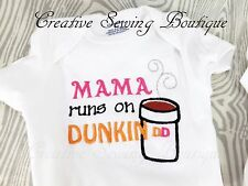 """""""MAMA RUNS ON COFFEE"""" BABY CLOTHES, BABY BODYSUIT, BABY DIAPER SHIRT,"""
