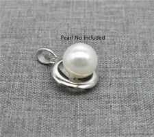 Sterling Silver Cross Charm Setting Rhodium Plated for Pearl Necklace Bracelet