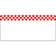 Write On Merchandising Tag Red Checkerboard Design White Heat Resistant- 4 3/8