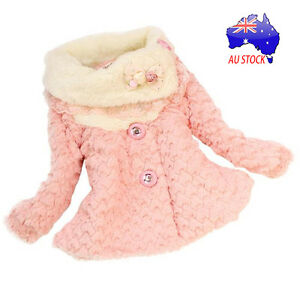 AU Girls Kids Winter Toddler Outwear Clothes Long Jacket Coat Snowsuit Clothing