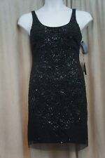 Adrianna Papell Dress Sz 12 Black Beaded Sleeveless Cocktail Evening Sheath Dres