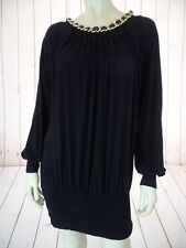 Sky Dress or Long Top S Black Pullover Rayon Spandex Stretch Knit Gold Chain