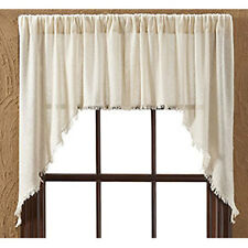 Burlap Tobacco Cloth Natural Unlined Window Swag Set of 2 by VHC Brands
