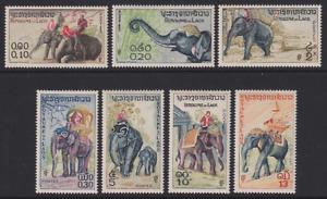 LAOS  1958: MNH ELEPHANTS set (7) Sc #41/47 · fine and attractive set