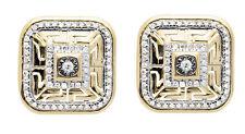 10K Yellow Gold Bismark Square Dome Genuine Diamond Stud Earring 12MM 0.45ct.