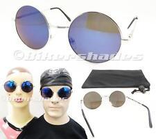 Blue Mirror John Lennon Round Circle Hippie Vintage 60's Sunglasses Glasses