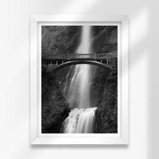 More details for a3 white framed prints - bw - benson bridge multnomah falls 42x29.7cm #38910