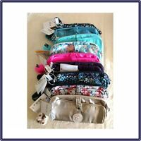 NWT Kipling Wolfe Pencil Pouch Soft Case Metallic Floral Print Solid - New Added