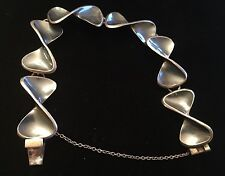 Silver W/ Blue Mirror Finish Bracelet Vintage Sigi Mexico Taxco Solid Sterling