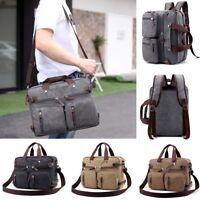 New Mens Canvas Laptop Briefcase Travel Backpack Shoulder Handbag School Bag