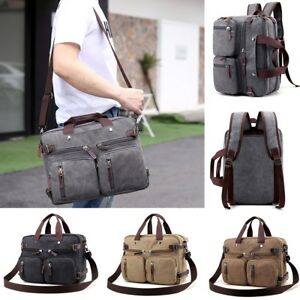Mens Canvas Briefcase Laptop Travel Backpack Shoulder Handbag Office Bag