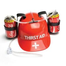 Thirst Aid Drinking Helmet Hands Free 2 Can Beer Hat