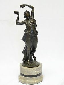 "SIGNED CLODION 19 c. NUDE FEMALE BRONZE SCULPTURE on MARBLE BASE ~ 19"" bronze"