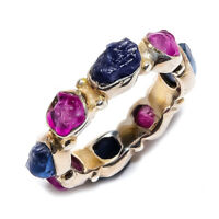 Sapphire & Ruby Rough Natural Gemstone 925 Sterling Silver Ring Size 7 SR-763