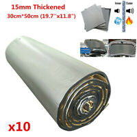 10 Sheet 15mm Thickened Car Firewall Hood Trunk Soundproofing Noise Dampener Pad