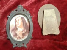 old metal frame religious catholic picture christian church cross god decor fait