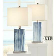 Modern Table Lamps Set of 2 with USB Port Rectangular...