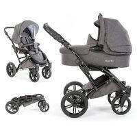 Knorr Baby 2in1 Kombi Kinderwagen Sportwagen Voletto Exklusiv - Melange Grau